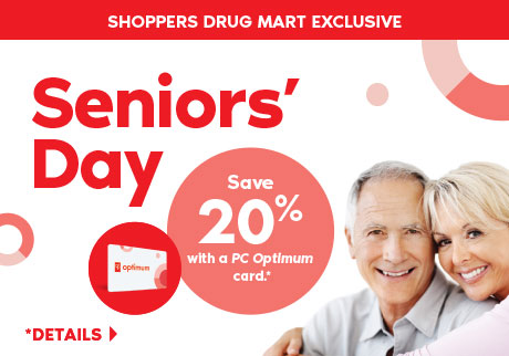 Seniors save 20% with a PC Optimum card on regular priced merchandise at Shoppers Drug Mart.
