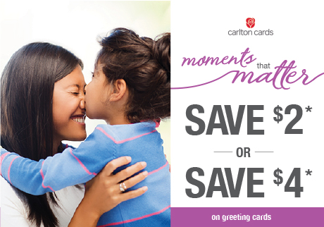 Buy 2 Carlton Cards, Save $2 or Buy 3 Carlton Cards, Save $4*. Coupon available at Shoppers Drug Mart