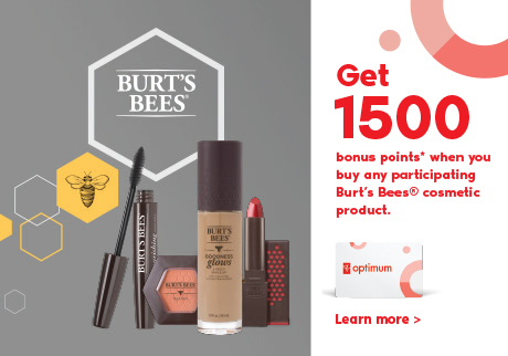 Get 1500 bonus points* when you buy any participating Burt's Bees® cosmetic product.