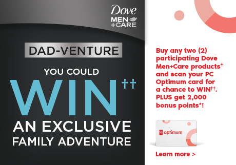 Get 2,000 bonus points* when you purchase any two (2) participating Dove Men+Care products†