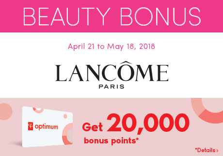 Get 20,000 bonus points when you spend $125 or more on Lancôme products.