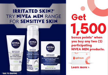 Nivea Men | Get 1,500 bonus points* when you buy any two (2) participating NIVEA MEN products. Learn more >