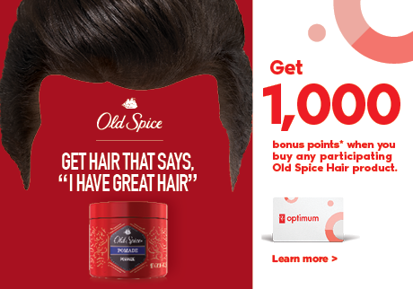 Get 1,000 bonus points* when you purchase any participating Old Spice Hair product.