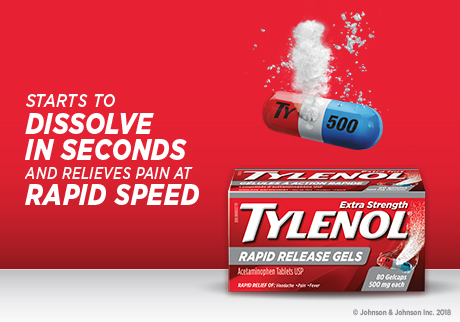 Starts to dissolve in seconds and relieves pain at rapid speed | Tylenol Rapid Release Gels