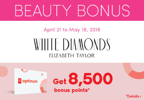Get 8,500 bonus points when you purchase any White Diamonds Fragrance.