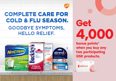 Get 4,000 bonus points* when you buy any two participating GSK products.