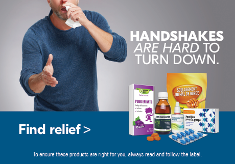 Handshakes are hard to turn down Find relief this season by exploring our Cough & Cold page.