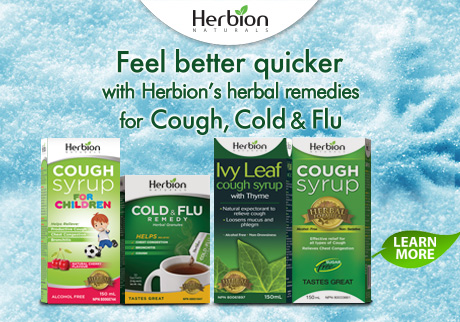 Prevent Cough Cold & Flu with Herbion Naturals Cough Syrup Sugar Free, Cough Syrup for Children, Ivy Leaf Cough Syrup and Cold & Flu Remedy Granules.