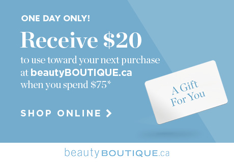 Get $20 to use toward your next online purchase at beautyBOUTIQUE.ca.