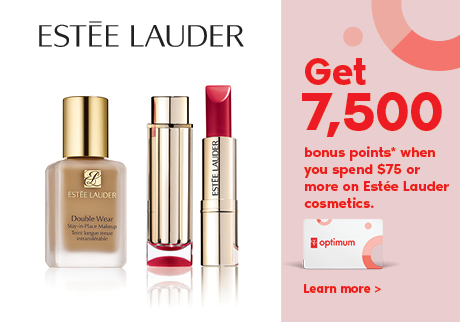 Get 7,500 bonus points* when you spend $75 or more on Estée Lauder cosmetics.