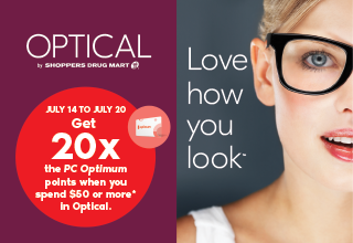 Get 20x the PC Optimum points when you spend $50 or more* in Optical.