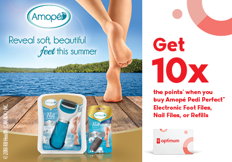 Amopé | Get 10x the points* when you buy Amopé Pedi Perfect™ Electronic Foot Files, Nail Files, or Refills.