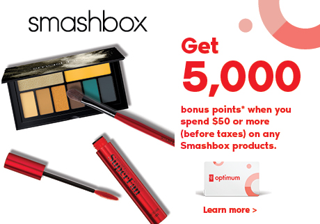Get 5,000 bonus points* when you spend $50 or more (before taxes) on any Smashbox products.