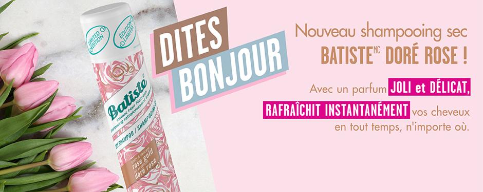 Dites bonjour au NOUVEAU shampooing sec Batiste Doré rose ! Avec un parfum joli et délicat, rafraîchit instantanément vos cheveux en tout temps, n'importe où.