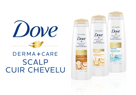 Visibly flake-free* & nourished hair with Dove Derma+Care Scalp. *with regular use