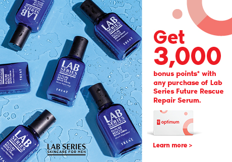 Get 3,000 bonus points* with any purchase of Lab Series Future Rescue Repair Serum.