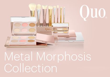 Shine for Spring with Quo's collection of cosmetics and brushes in a range of beautiful metallics.