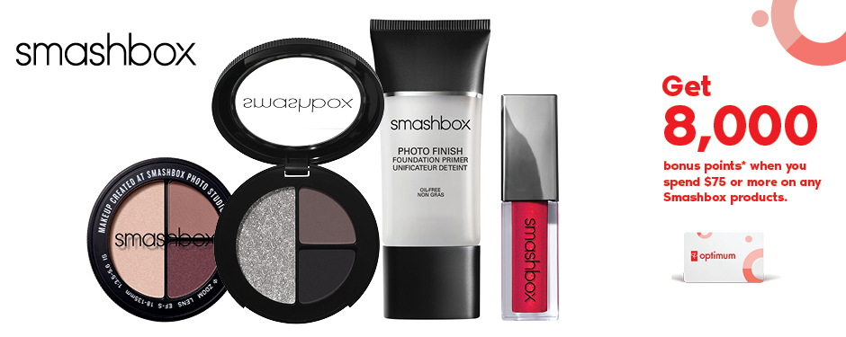 Get 8,000 bonus points* when you spend $75 or more on Smashbox products.