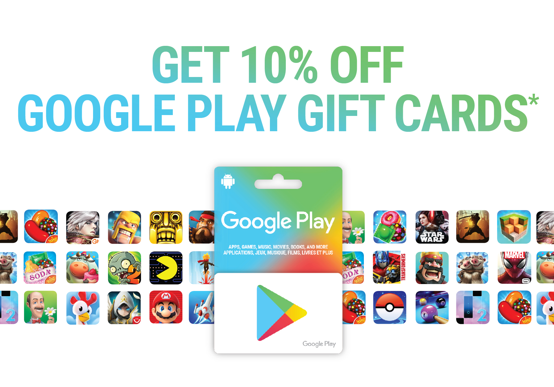 Get 10% off Google Play Gift Cards*