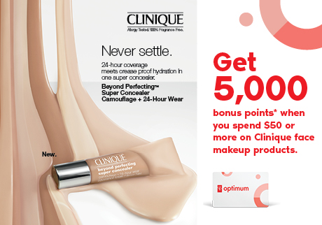 Get 5,000 bonus points* when you spend $50 or more on Clinique face makeup products.