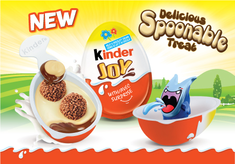 A new Easter treat from KINDER<sup>®</sup>! featuring spoonable layers of milky & chocolaty creams topped with 2 crispy wafer bites, and new toys too!