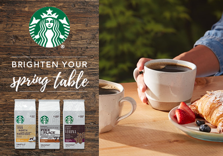 Get 2000 bonus points* when you purchase any (1) Starbucks® Ground, Whole Bean (340g) or K-Cup® (10ct or 24ct) coffee.