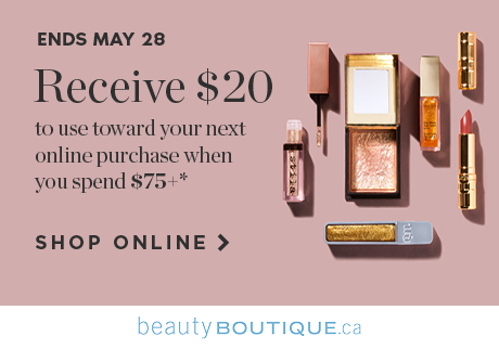 Receive $20 to use toward your next online purchase when you spend $75+