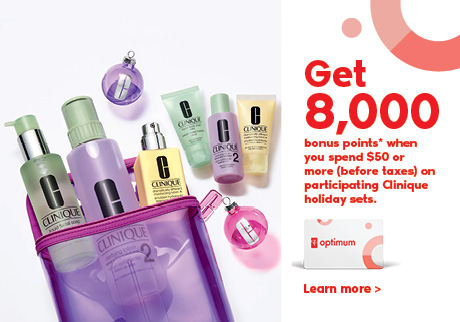Get 8,000 bonus points when you spend $50 or more (before taxes) on Participating Clinique holiday sets.