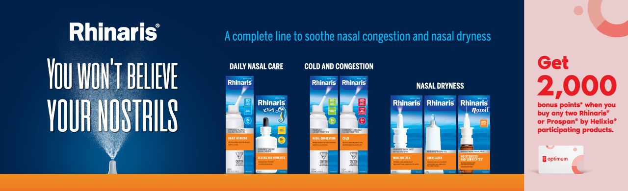 Get 2,000 bonus points* when you buy any two Rhinaris® or Prospan® by Helixia® participating products.