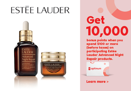 Get 10,000 bonus points when you spend $100 or more (before taxes) on participating Estee Lauder Advanced Night Repair products.
