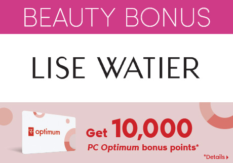 Get 10,000 bonus points* when you spend $75 or more on any Lise Watier products.