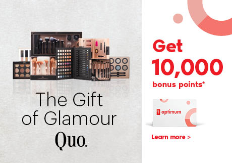 Get 10,000 bonus points* when you buy any two (2) participating Quo cosmetic products.