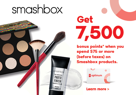 Get 7,500 bonus points when you spend $75 or more (before taxes) on Smashbox products.