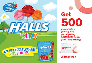 Get 500 points* when you buy any participating HALLS KIDS Pops (10 ct., any variety)!