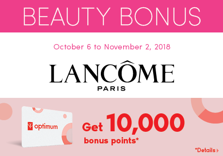 Get 10,000 bonus points when you spend $75 or more (before taxes) on Lancôme makeup products.