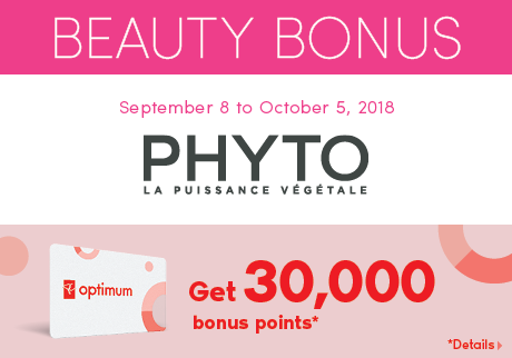 Get 30,000 bonus points with the purchase of two (2) PHYTO RE30 Grey Hair Treatment.