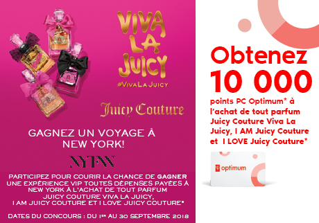 Obtenez 10 000 points PC Optimum* à l'achat de tout parfum Juicy Couture Viva La Juicy, I AM JC et I LOVE JC.