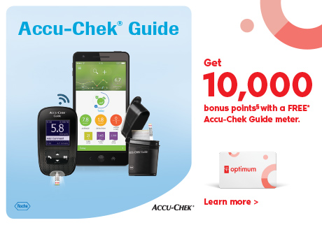 Get 10,000 bonus points§ with a FREE* Accu-Chek Guide meter.  Plus, receive bonus access to mySugr Pro!