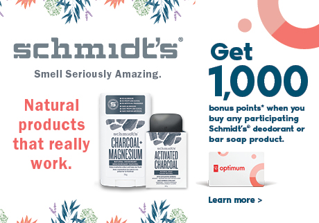 Get 1,000 bonus points* when you buy any participating Schmidt's® deodorant or bar soap product. Offer valid until May 17, 2019.