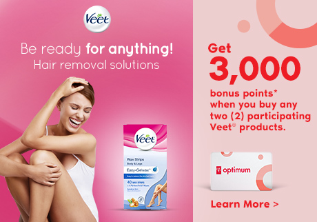 Get 3,000 bonus points* when you buy any two participating Veet® products at Shoppers Drug Mart or Pharmaprix locations. Offer valid until September 6 2019. Learn More.