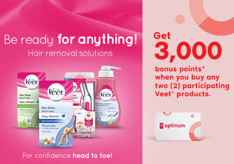 Get 3,000 bonus points* when you buy any two participating Veet® products at Shoppers Drug Mart or Pharmaprix. Offer valid until September 6 2019