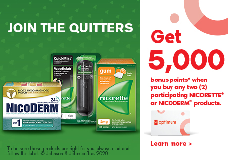 Nicoderm - Nicorette. Join the quitters.  Get 5000 bonus points when you buy any two participating Nicorette® or Nicoderm® products. Learn more.