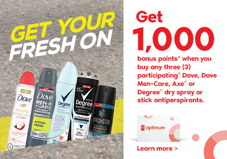 Get your fresh on. Get 1000 bonus points* when you buy any 3 participating† Dove, Dove Men+Care, Axe or Degree dry spray or stick antiperspirants. Learn more>