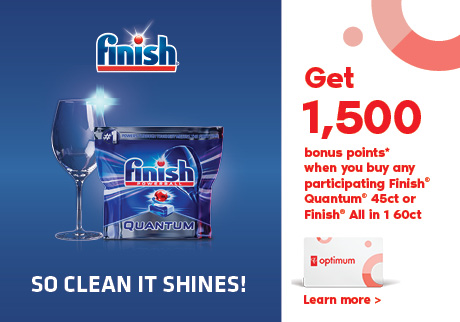 Get 1,500 bonus points* when you buy any Finish® Quantum® 45ct or Finish® All in 1 60ct Orange!