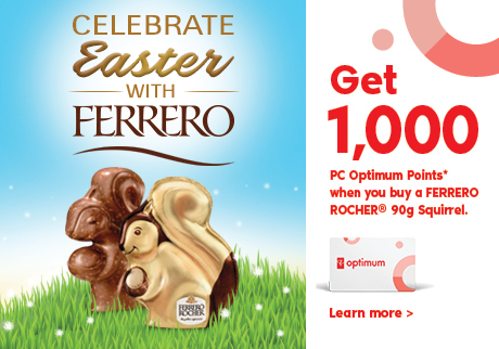 Celebrate Easter with Ferrero chocolate!  Get 1000 PC Optimum Points when you buy a FERRERO ROCHER® Easter Hollow Squirrel 90g!