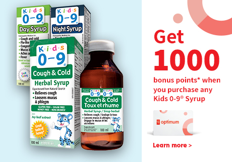 Get 1,000 Bonus points when you purchase any Kids 0-9 Syrup