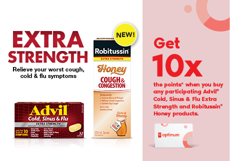 10X the points* when you buy select Advil and Robitussin products. Be sure this product is right for you. Read and follow the label.