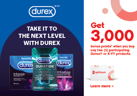 Take it to the next level with DUREX. Get 3,000 bonus points when you buy any two participating Durex or KY products. Learn more.