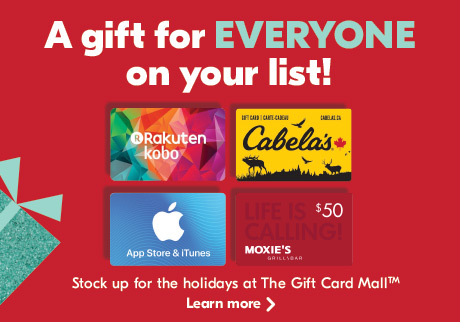 A gift for EVERYONE on your list! Stock up for the holidays at The Gift Card MallTM. Learn more.