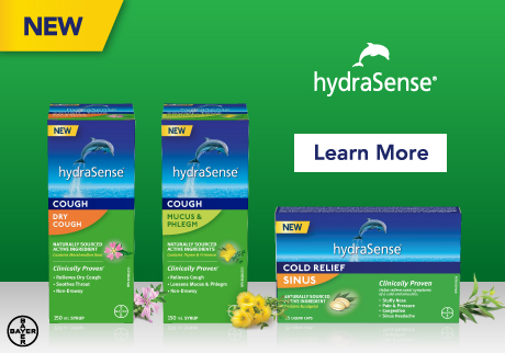 New hydraSense Cough and Sinus Cold products. Clinically proven, naturally sourced active ingredients. Learn More>